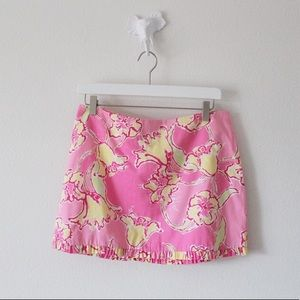 Lilly Pulitzer Floral Pink Yellow Mini Skirt
